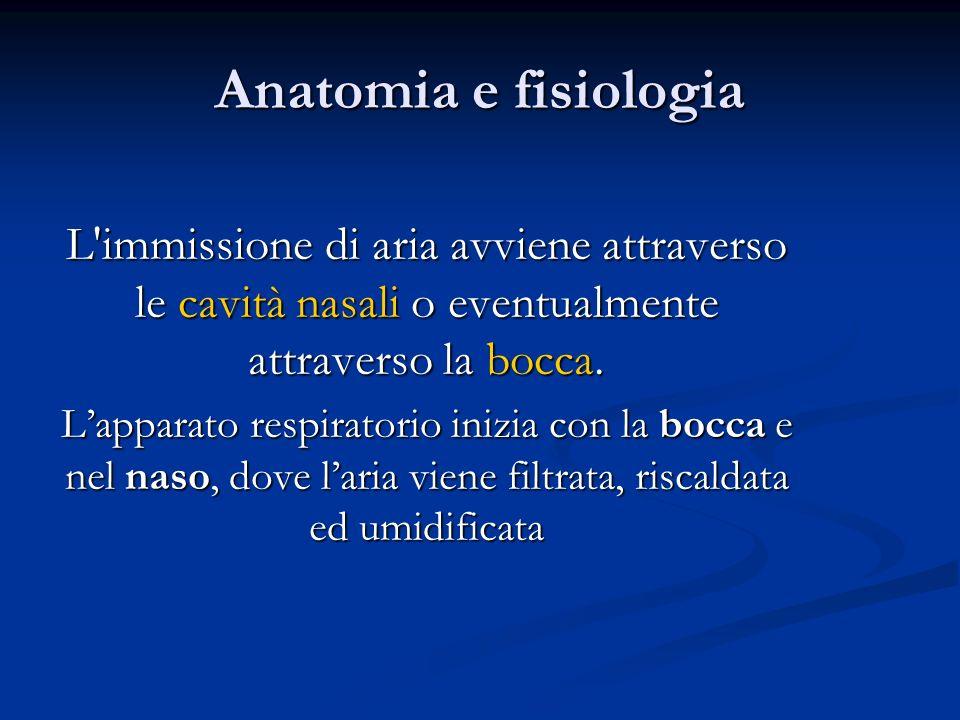 Anatomia e fisiologiaL immissione di aria avviene attraverso le cavità nasali o eventualmente attraverso la bocca.