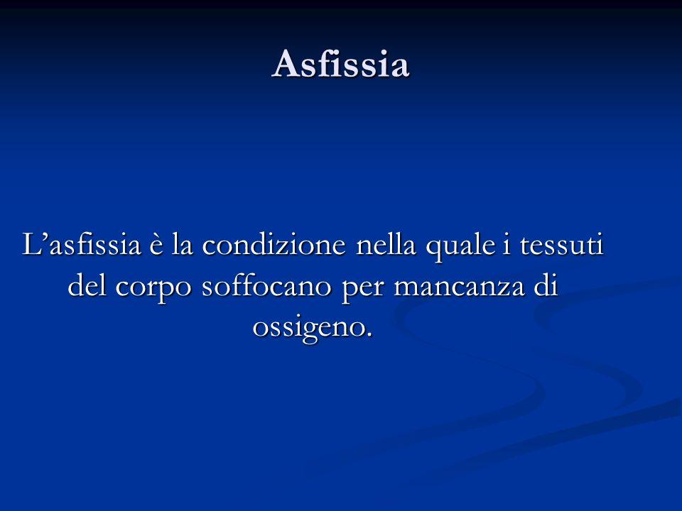 AsfissiaL'asfissia è la condizione nella quale i tessuti del corpo soffocano per mancanza di ossigeno.