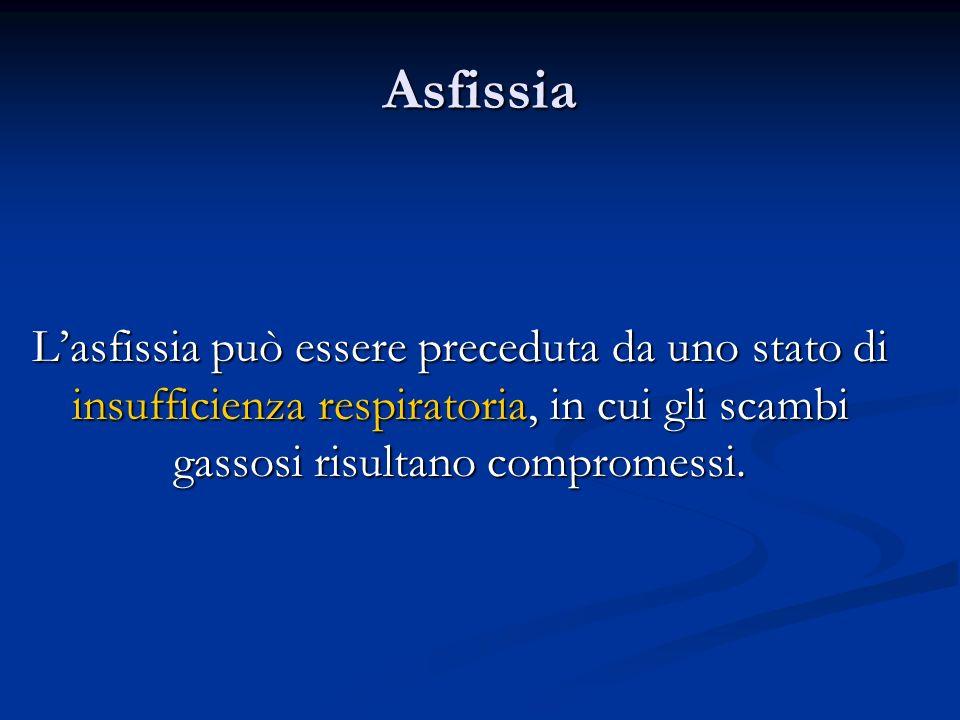 Asfissia L'asfissia può essere preceduta da uno stato di insufficienza respiratoria, in cui gli scambi gassosi risultano compromessi.
