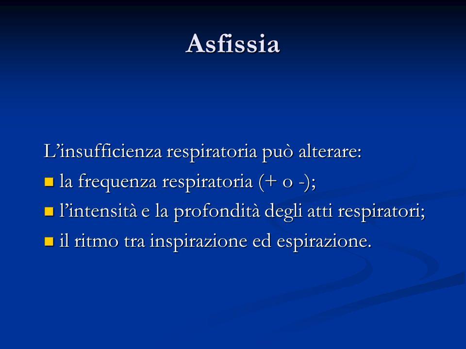 Asfissia L'insufficienza respiratoria può alterare: