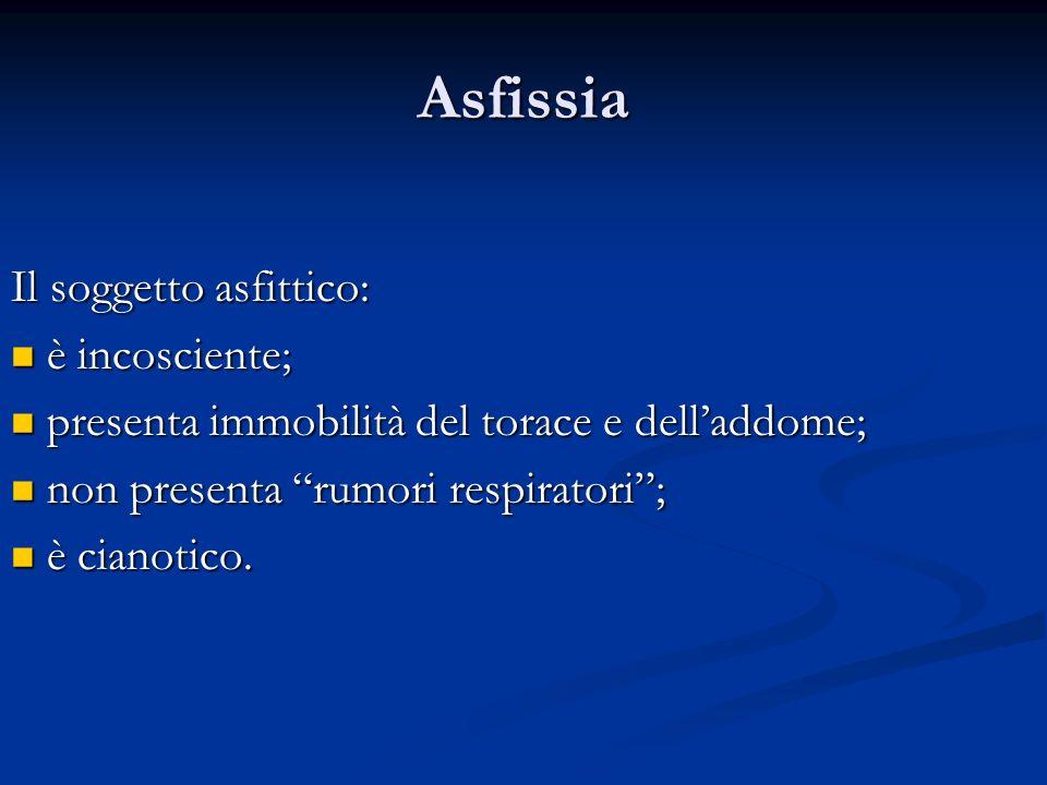 Asfissia Il soggetto asfittico: è incosciente;