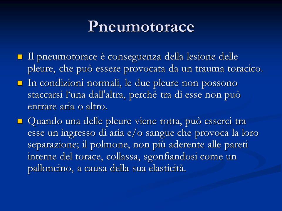 Pneumotorace Il pneumotorace è conseguenza della lesione delle pleure, che può essere provocata da un trauma toracico.