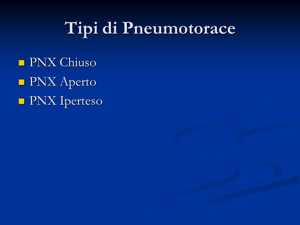 Tipi di Pneumotorace PNX Chiuso PNX Aperto PNX Iperteso