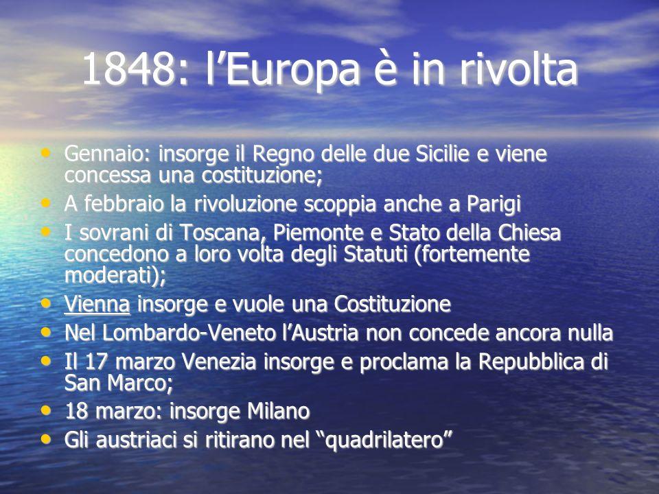 1848: l'Europa è in rivolta Gennaio: insorge il Regno delle due Sicilie e viene concessa una costituzione;