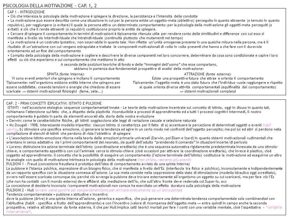 PSICOLOGIA DELLA MOTIVAZIONE – CAP. 1, 2
