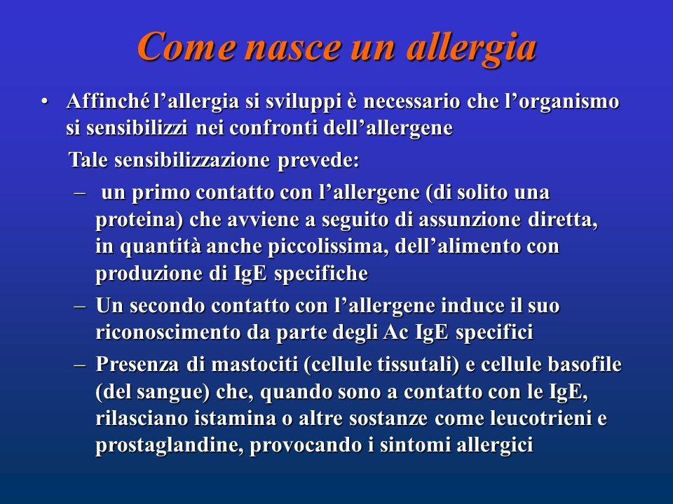 Come nasce un allergia Affinché l'allergia si sviluppi è necessario che l'organismo si sensibilizzi nei confronti dell'allergene.