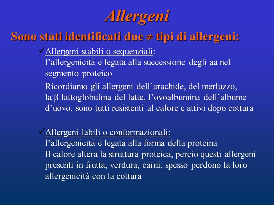 Allergeni Sono stati identificati due  tipi di allergeni: