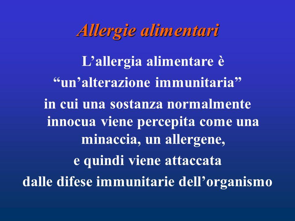 Allergie alimentari L'allergia alimentare è