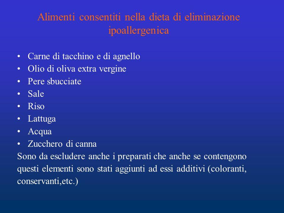 Alimenti consentiti nella dieta di eliminazione ipoallergenica