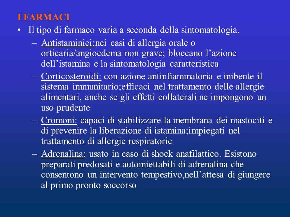 I FARMACI Il tipo di farmaco varia a seconda della sintomatologia.