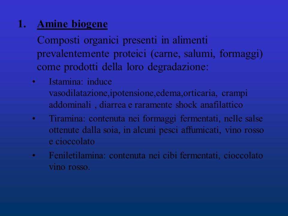 Amine biogene Composti organici presenti in alimenti prevalentemente proteici (carne, salumi, formaggi) come prodotti della loro degradazione: