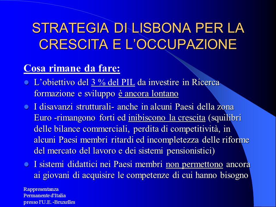STRATEGIA DI LISBONA PER LA CRESCITA E L'OCCUPAZIONE
