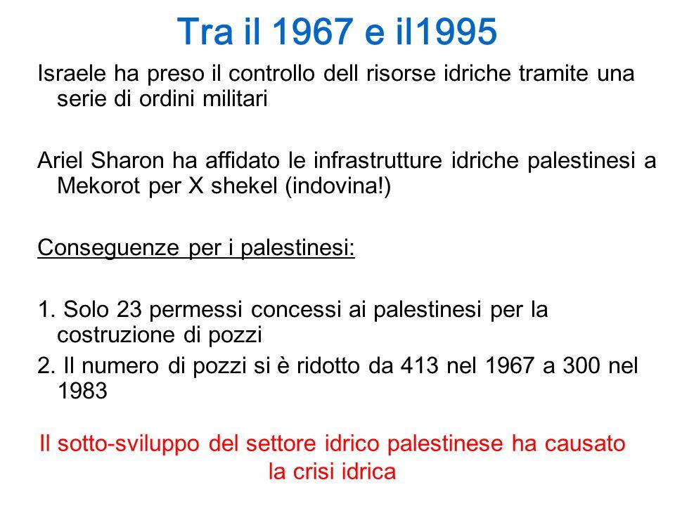 Tra il 1967 e il1995 Israele ha preso il controllo dell risorse idriche tramite una serie di ordini militari.