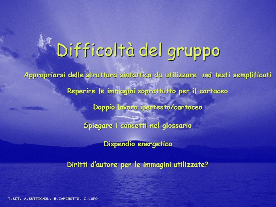 Difficoltà del gruppo Appropriarsi delle struttura sintattica da utilizzare nei testi semplificati.