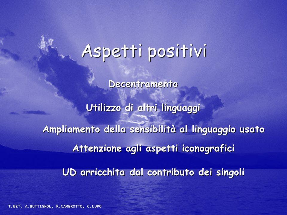 Aspetti positivi Decentramento Utilizzo di altri linguaggi