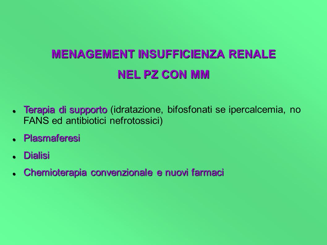 MENAGEMENT INSUFFICIENZA RENALE