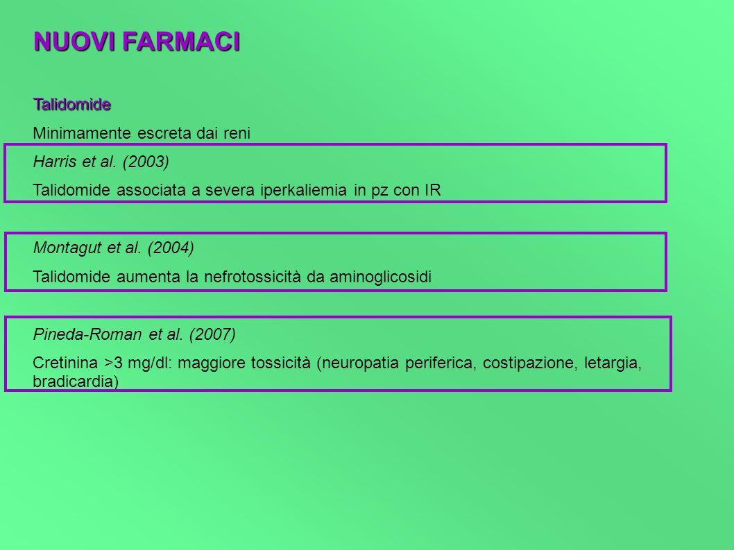 NUOVI FARMACI Talidomide Minimamente escreta dai reni