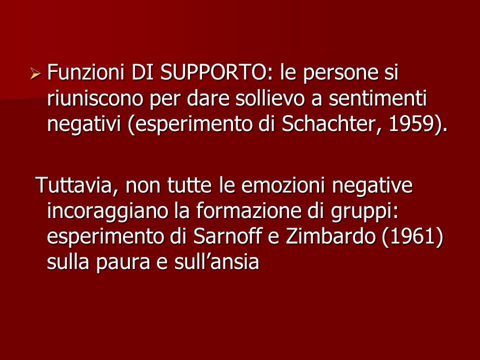 Funzioni DI SUPPORTO: le persone si riuniscono per dare sollievo a sentimenti negativi (esperimento di Schachter, 1959).