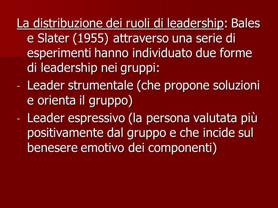 La distribuzione dei ruoli di leadership: Bales e Slater (1955) attraverso una serie di esperimenti hanno individuato due forme di leadership nei gruppi: