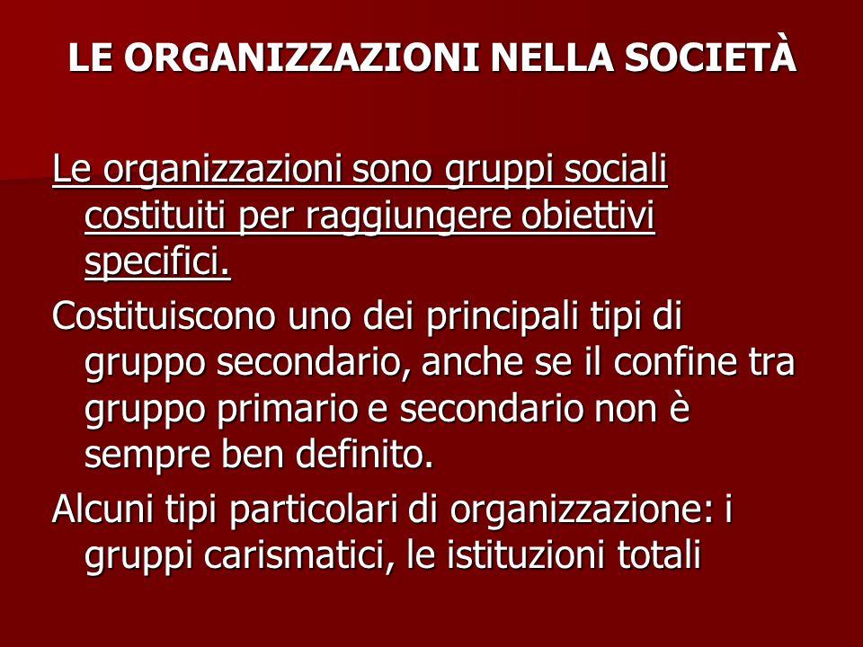 LE ORGANIZZAZIONI NELLA SOCIETÀ