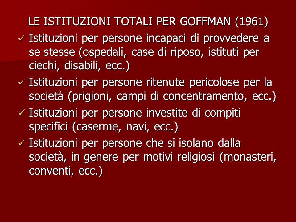 LE ISTITUZIONI TOTALI PER GOFFMAN (1961)