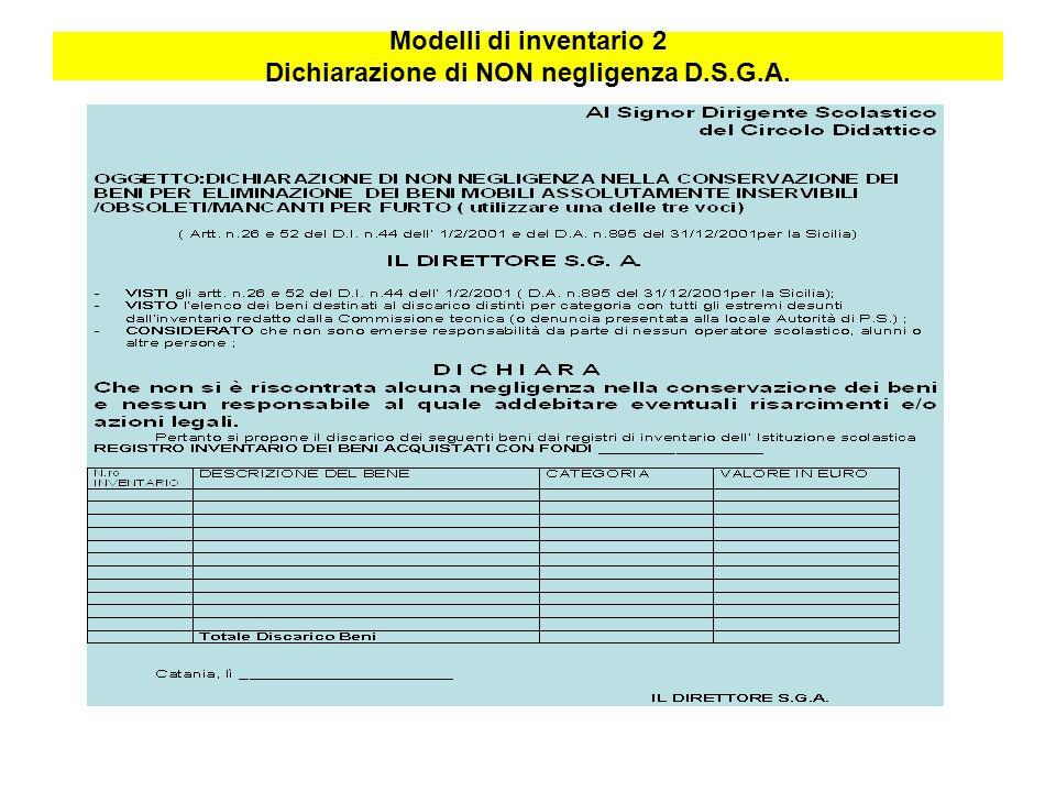 Modelli di inventario 2 Dichiarazione di NON negligenza D.S.G.A.