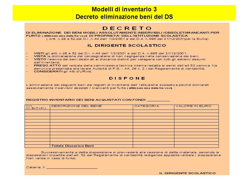 Modelli di inventario 3 Decreto eliminazione beni del DS