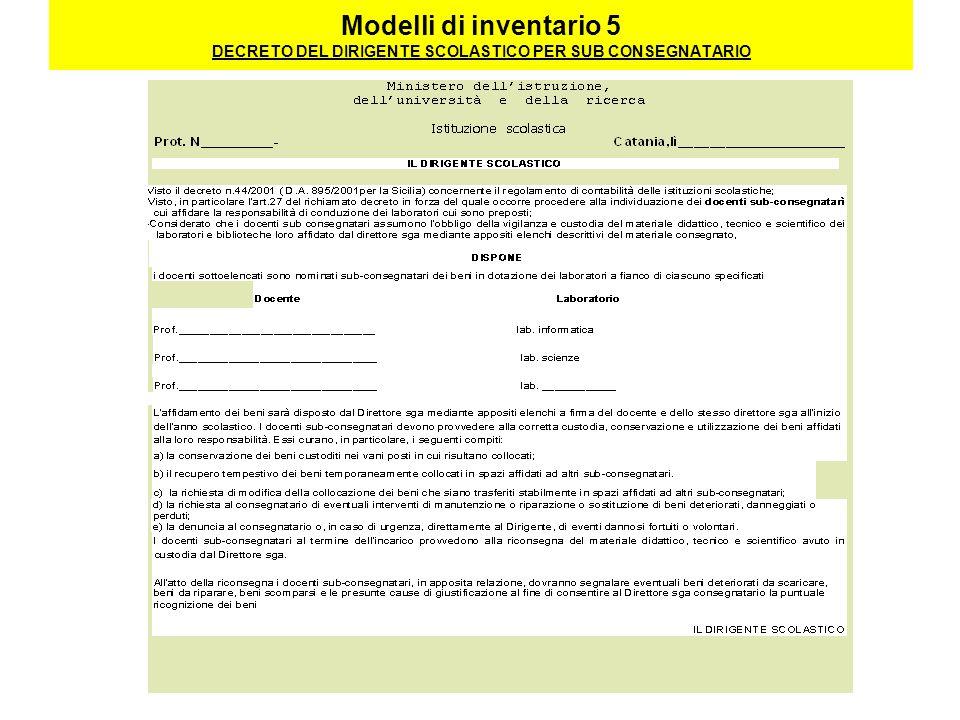 Modelli di inventario 5 DECRETO DEL DIRIGENTE SCOLASTICO PER SUB CONSEGNATARIO