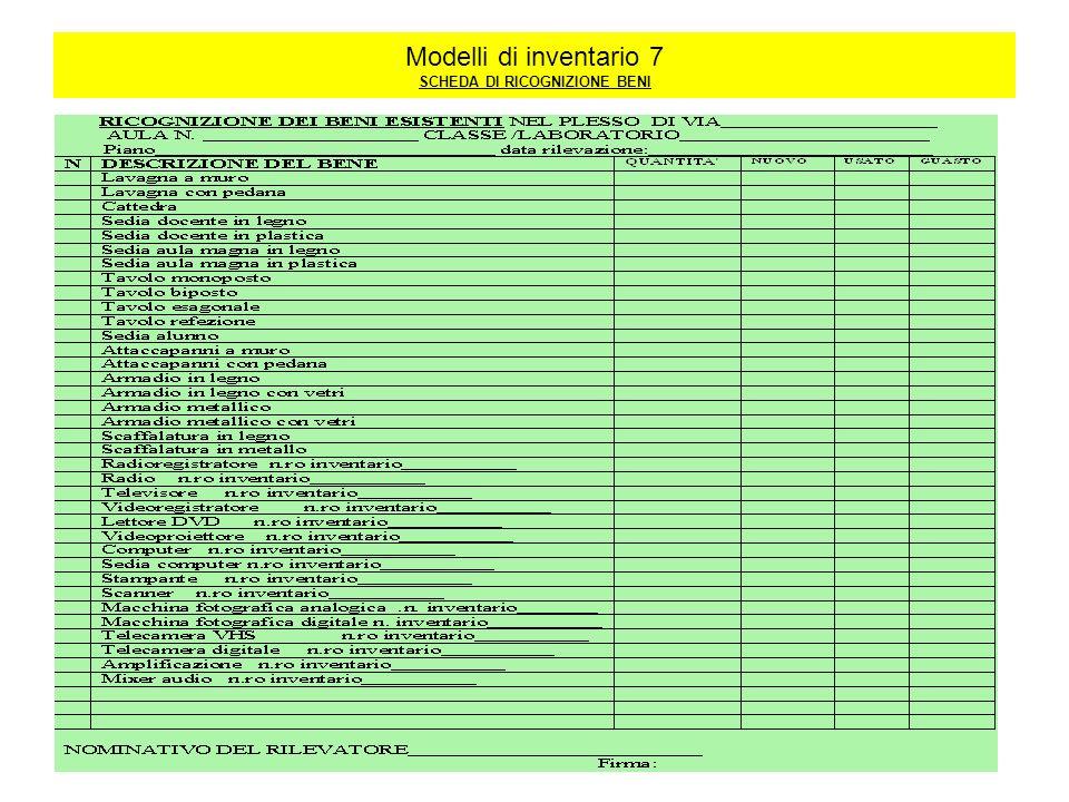 Modelli di inventario 7 SCHEDA DI RICOGNIZIONE BENI