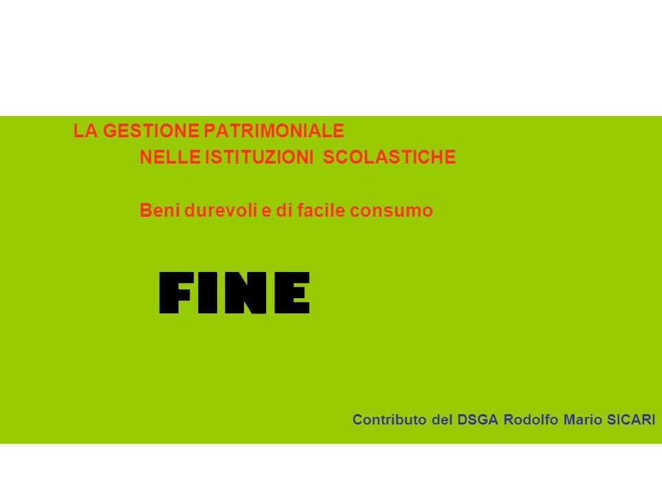 FINE LA GESTIONE PATRIMONIALE NELLE ISTITUZIONI SCOLASTICHE