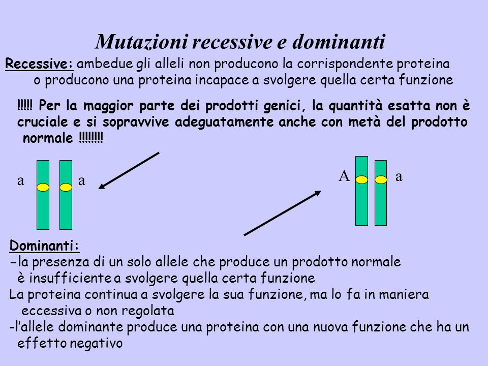 Mutazioni recessive e dominanti