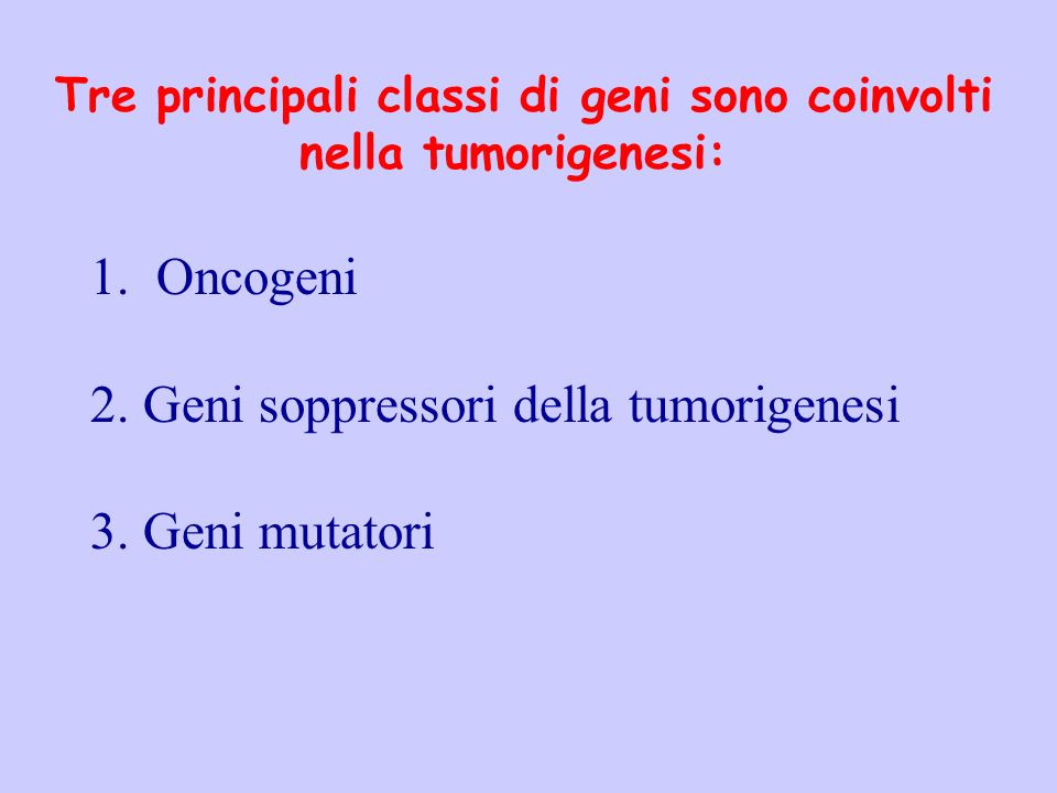 Geni soppressori della tumorigenesi Geni mutatori