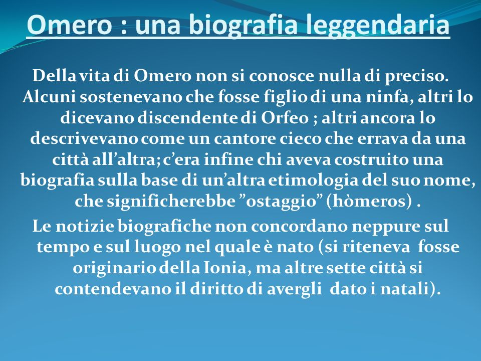 Omero : una biografia leggendaria