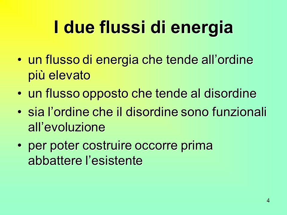 I due flussi di energia un flusso di energia che tende all'ordine più elevato. un flusso opposto che tende al disordine.