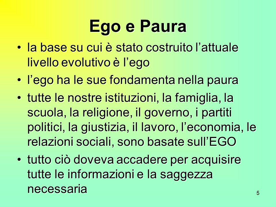 Ego e Paura la base su cui è stato costruito l'attuale livello evolutivo è l'ego. l'ego ha le sue fondamenta nella paura.