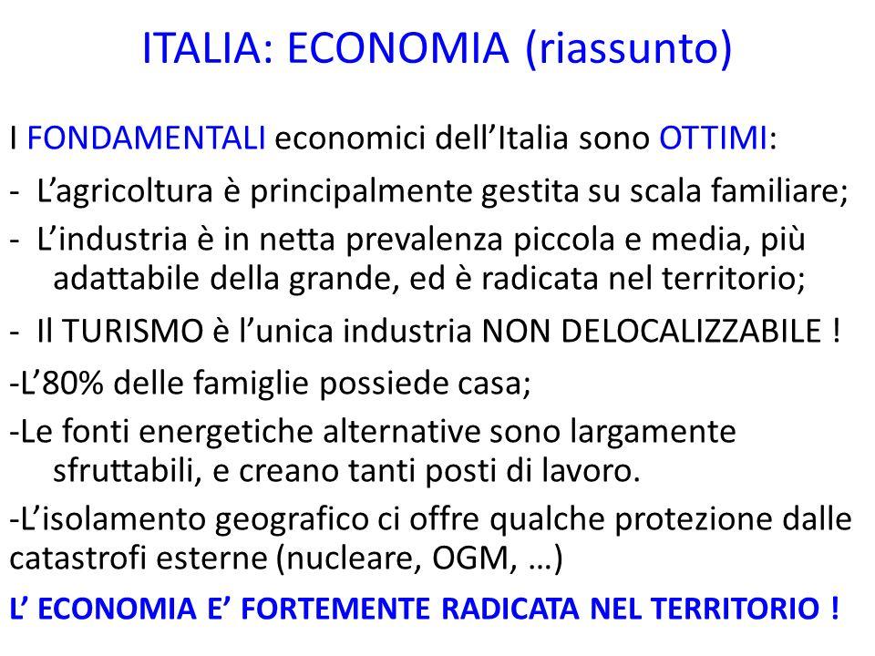 ITALIA: ECONOMIA (riassunto)