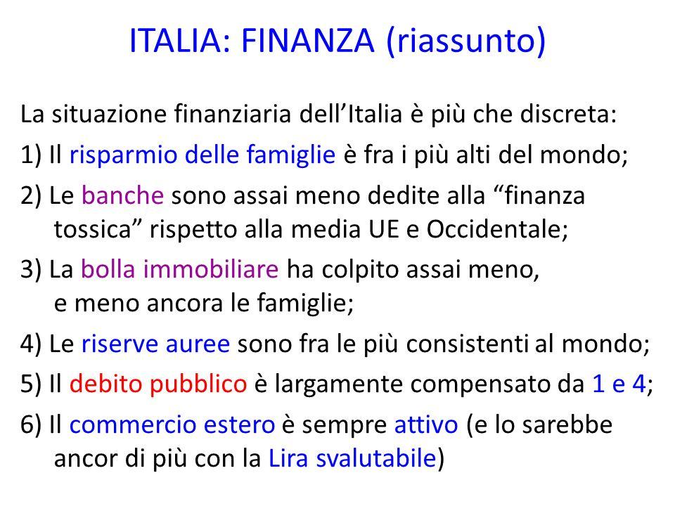 ITALIA: FINANZA (riassunto)