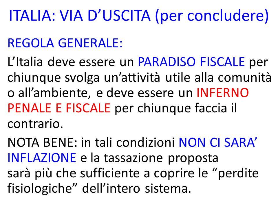 ITALIA: VIA D'USCITA (per concludere)