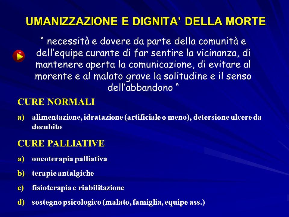 UMANIZZAZIONE E DIGNITA' DELLA MORTE