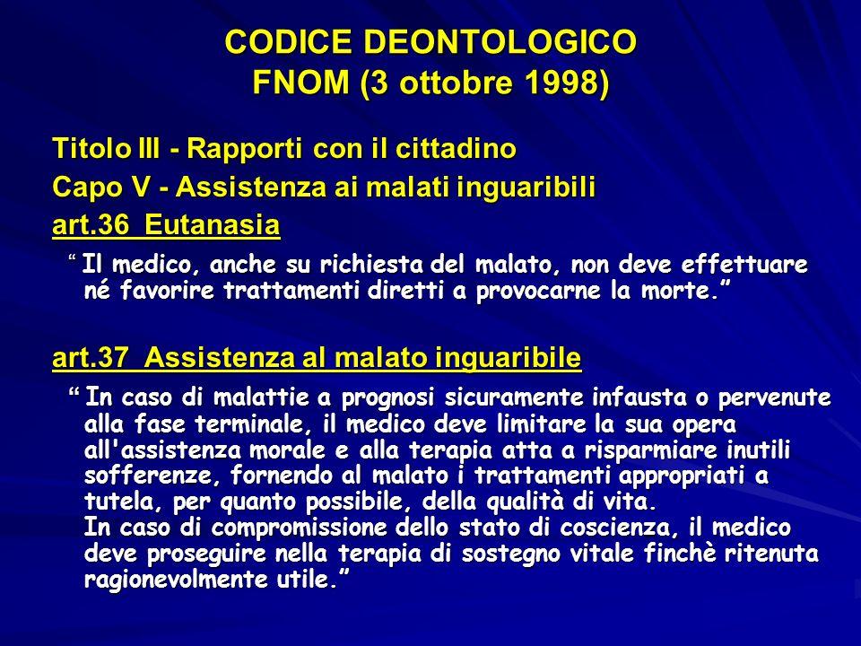 CODICE DEONTOLOGICO FNOM (3 ottobre 1998)