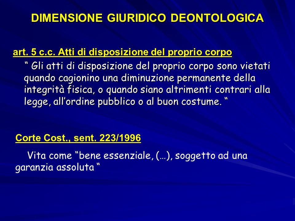 DIMENSIONE GIURIDICO DEONTOLOGICA