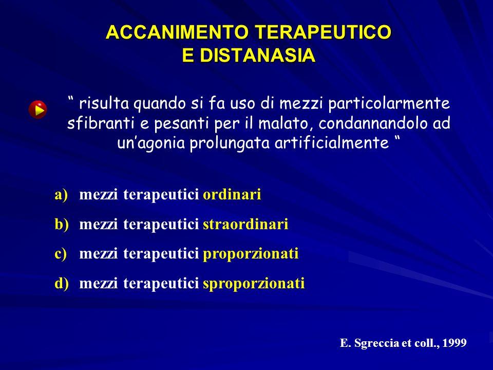 ACCANIMENTO TERAPEUTICO E DISTANASIA