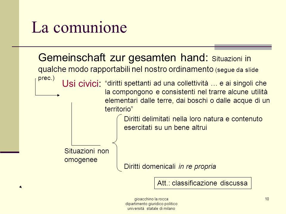 La comunioneGemeinschaft zur gesamten hand: Situazioni in qualche modo rapportabili nel nostro ordinamento (segue da slide prec.)