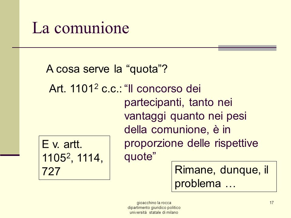 La comunione A cosa serve la quota Art. 11012 c.c.: