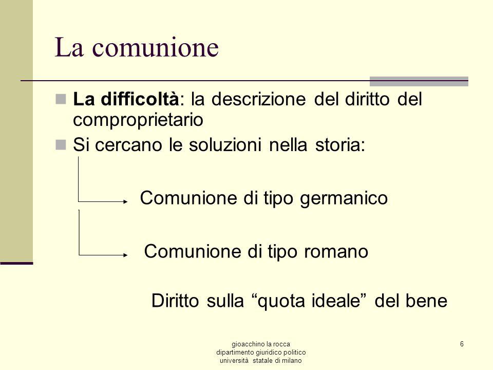La comunione La difficoltà: la descrizione del diritto del comproprietario. Si cercano le soluzioni nella storia: