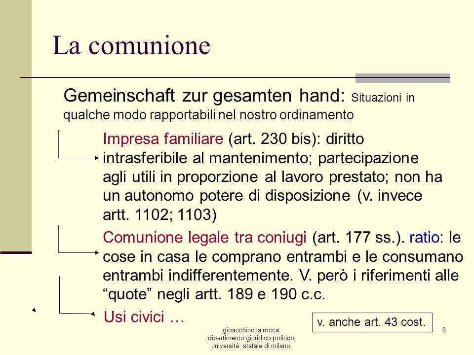 La comunioneGemeinschaft zur gesamten hand: Situazioni in qualche modo rapportabili nel nostro ordinamento.