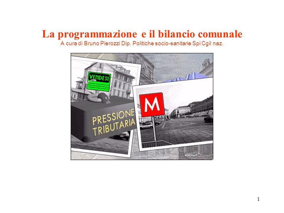 La programmazione e il bilancio comunale A cura di Bruno Pierozzi Dip
