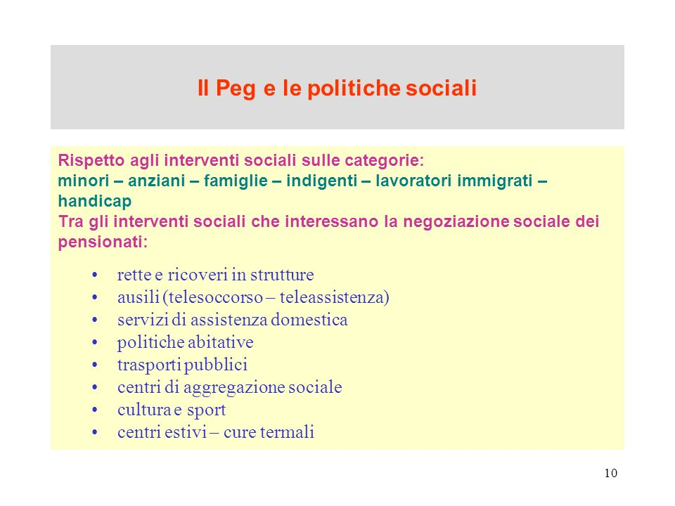 Il Peg e le politiche sociali