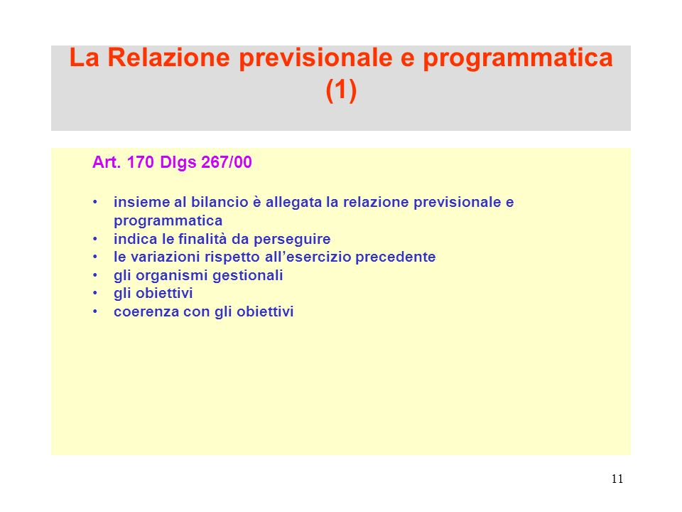 La Relazione previsionale e programmatica (1)