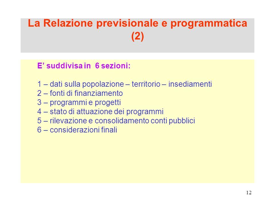 La Relazione previsionale e programmatica (2)